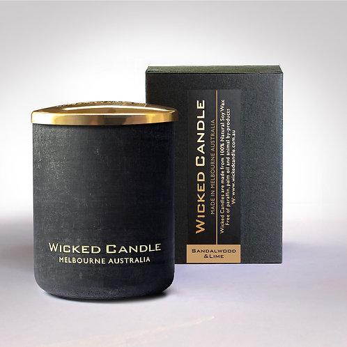 Small Concrete Jar (Black) - Sandalwood & Lime