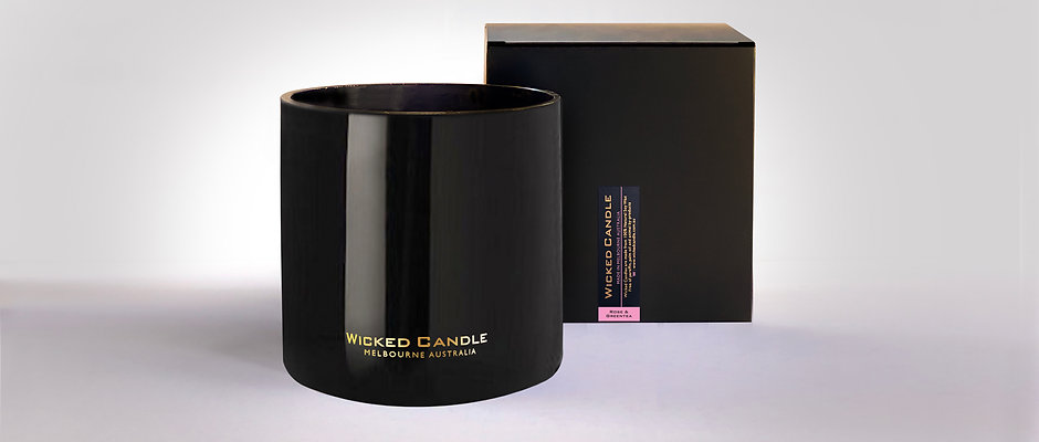 4 Wick Jumbo Jar (Black) - Rose & Greentea