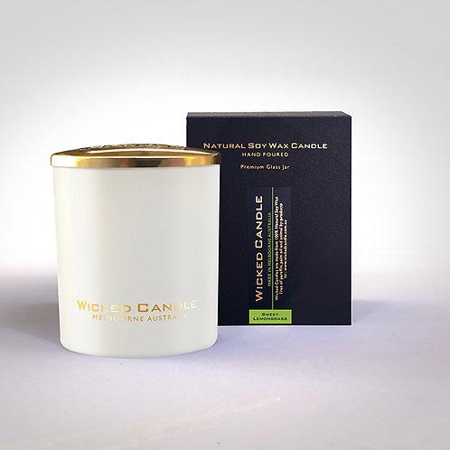 Large Glass Jar (White) - Sweet Lemongrass