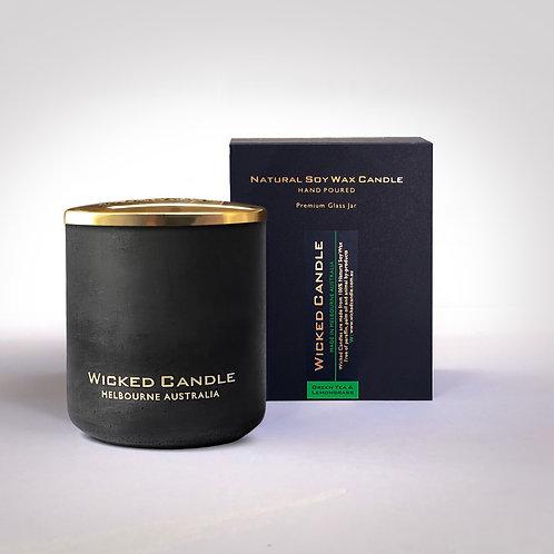 Large Concrete Jar (Black) -Greentea & Lemongrass