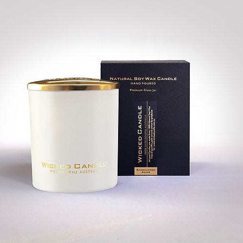 Large Glass Jar (White) - Sandalwood & Lime