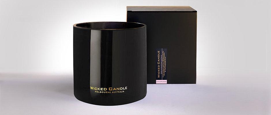 4 Wick Jumbo Jar (Black) - Lotus Flower