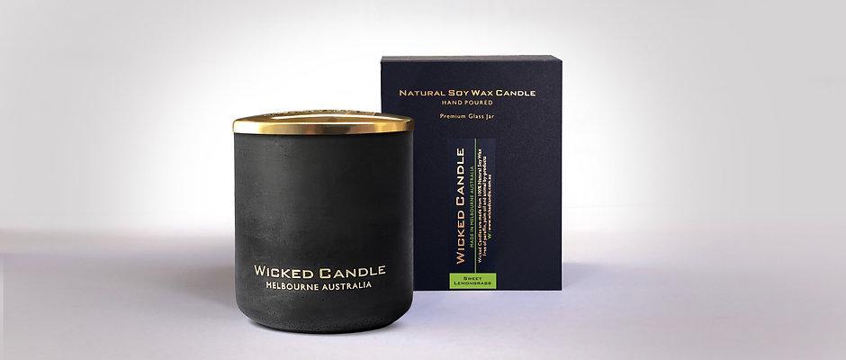 Large Concrete Jar (Black) - Sweet Lemongrass