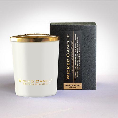 Small Glass Jar (White) - Sandalwood & Lime