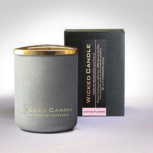 Small Concrete Jar (Grey) - Lotus Flower