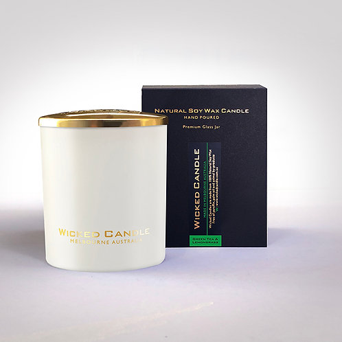 Large Glass Jar (White) - Greentea & Lemongrass