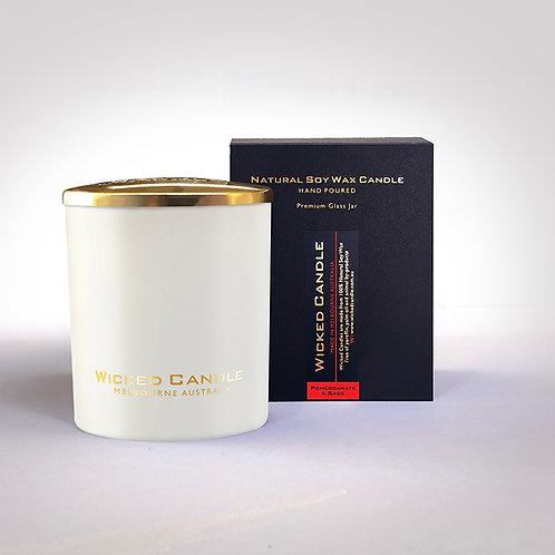 Large Glass Jar (White) - Pomegranate & Sage