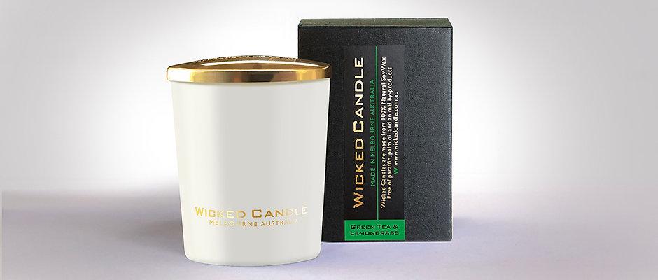 Small Glass Jar (White) - Greentea & Lemongrass