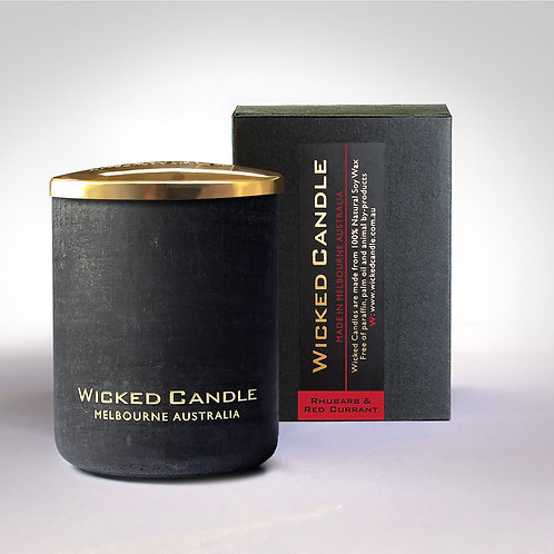 Small Concrete Jar (Black) - Rhubarb & Red Currant