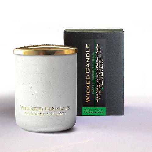Small Concrete Jar (White) - Greentea & Lemongrass