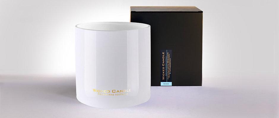 Wick Jumbo Jar (White) - Bamboo