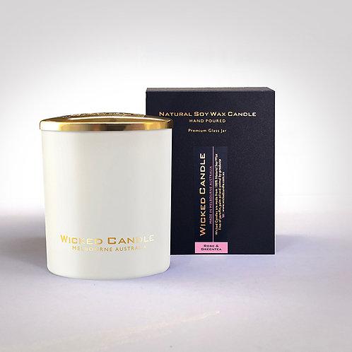 Large Glass Jar (White) - Rose & Greentea