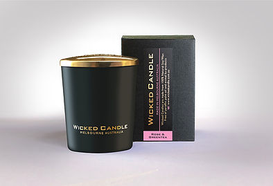 Wicked Candle_Small Black Jar_Rose & Gre