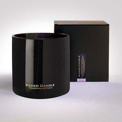 4 Wick Jumbo Jar (Black) - Vanilla Lavender