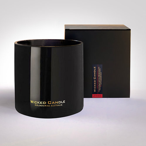 4 Wick Jumbo Jar (Black) - Rhubarb & Red Currant