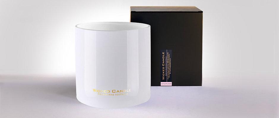 4 Wick Jumbo Jar (White) - Lotus Flower
