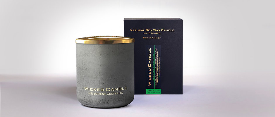Large Concrete Jar (Grey) - Greentea & Lemongrass