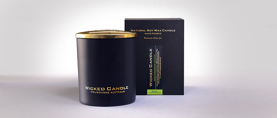 Large Glass Jar (Black) - Sweet Lemongrass