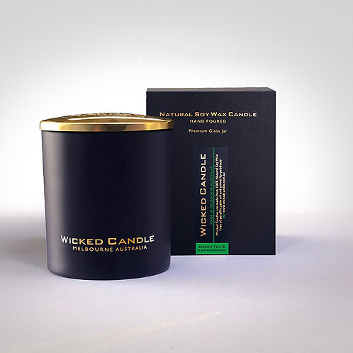 Large Glass Jar (Black) - Greentea & Lemongrass