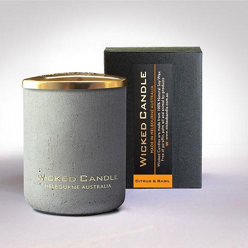 Small Concrete Jar (Grey) - Citrus & Basil