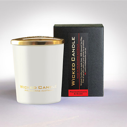 Small Glass Jar (White) - Pomegranate & Sage