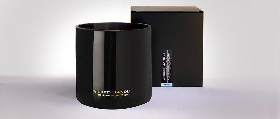 4 Wick Jumbo Jar (Black) - Bamboo