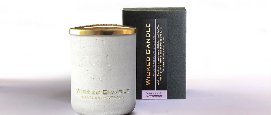 Small Concrete Jar (White) - Vanilla Lavender