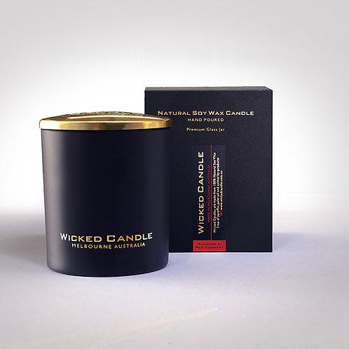 Large Glass Jar (Black) - Rhubarb & Red Currant