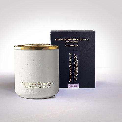 Large Concrete Jar (White) - Vanilla Lavender