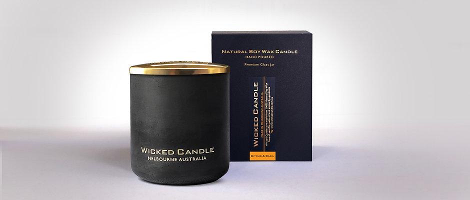 Large Concrete Jar (Black) - Citrus & Basil