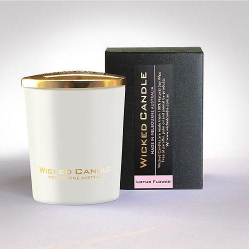 Small Glass Jar (White) - Lotus Flower