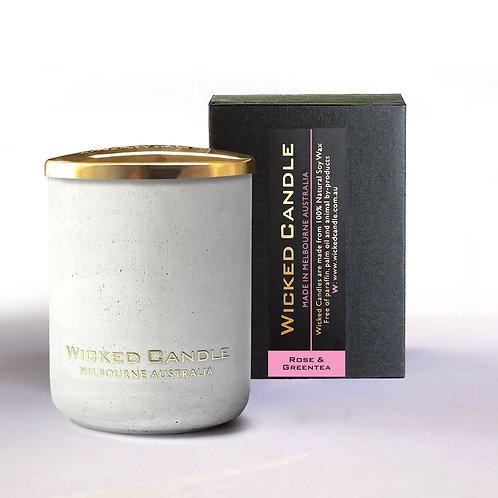 Small Concrete Jar (White) - Rose & Greentea