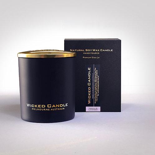 Large Glass Jar (Black) - Vanilla Lavender