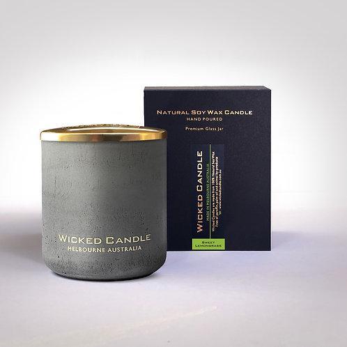 Large Concrete Jar (Grey) - Sweet Lemongrass