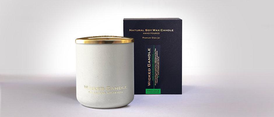 Large Concrete Jar (White) - Greentea & Lemongrass