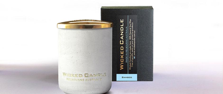 Small Concrete Jar (White) - Bamboo