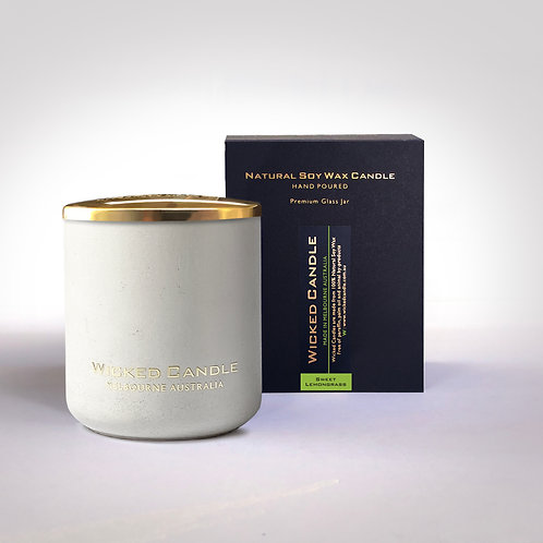 Large Concrete Jar (White) - Sweet Lemongrass