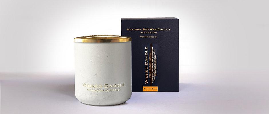 Large Concrete Jar (White) - Citrus & Basil