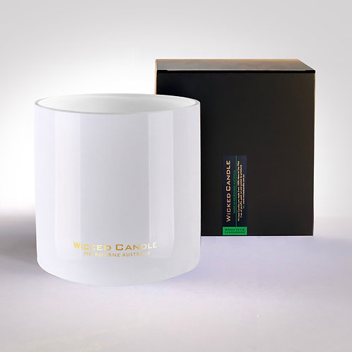 4 Wick Jumbo Jar (White) - Greentea & Lemongrass