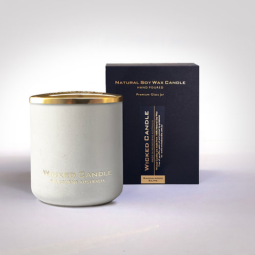 Large Concrete Jar (White) - Sandalwood