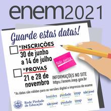 Atenção estudantes do SÃO JOSÉ VEST, foram divulgadas as datas para aplicação do ENEM 2021
