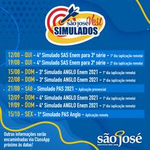 📌Atenção às datas, estudantes do São José Vest!