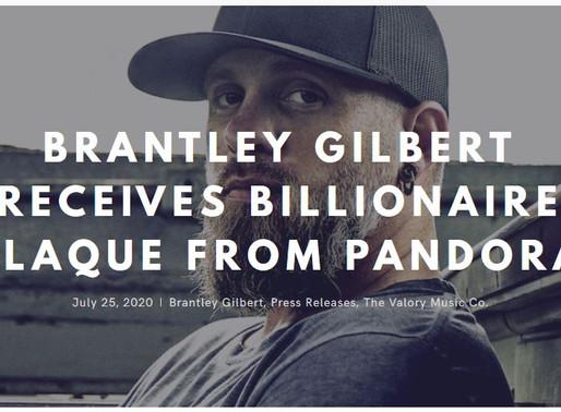 Brantley Gilbert Receives Billionaire Plaque from Pandora