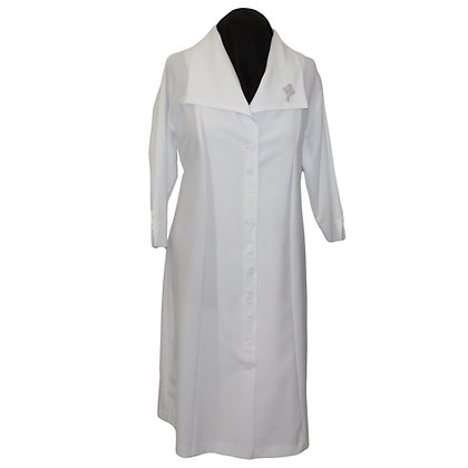 White Lapel Collar Ministry Dress