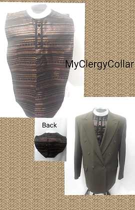 Men's Copper Silk Brocade Clergy Shirt Front