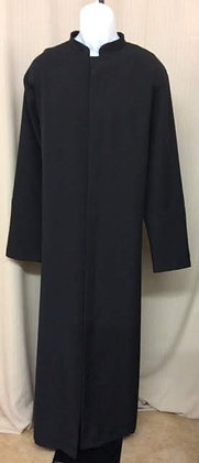 Men's Basic Black Unlined Zip Front Cassock