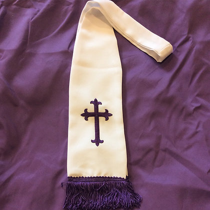 White Stole with Purple Fringe and Cross