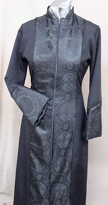 Black Clergy Brocade Front Panel Dress