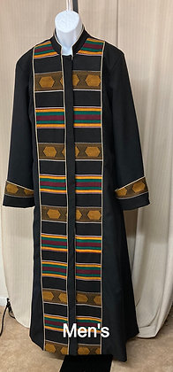 Mens Cassock with African Print Front Panels