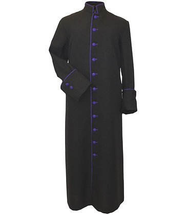 Roman Cut Cassock with purple piping